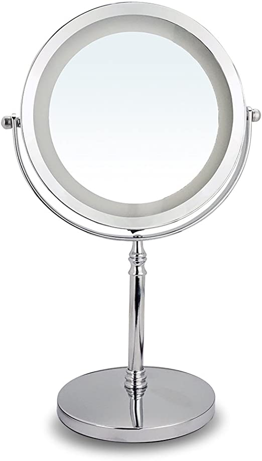 Espejo de Mesa, Espejo Maquillaje con Luz LED Espejo Aumento 10X ...