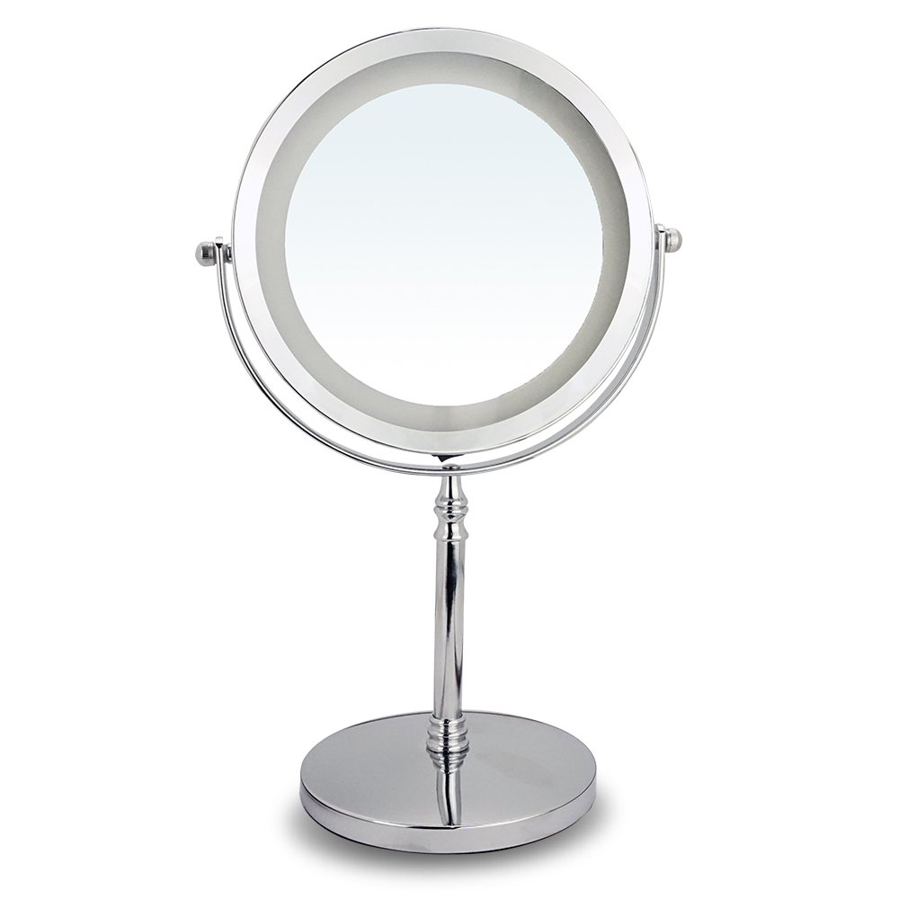10X Magnifying Mirror, LED Makeup Vanity Round Mirror, Double-Sided Lighted Mirrors for Bathroom, Bedroom, Bright Silver by Omnihome