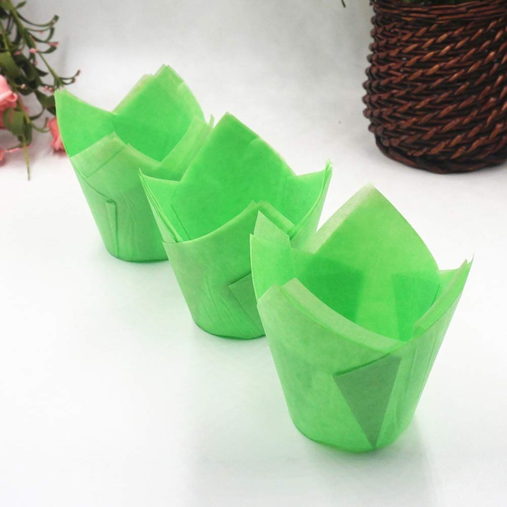 JunHenglr Paper Cupcake Wrappers/£/¬ 50Pcs High Temperature Resistant Cake Paper Cup Tulip Muffin Baking Case Liners for Party Supplies Blue