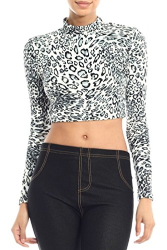 2LUV Women's Long Sleeve Mix Print Mock Turtleneck Crop Top Gray-Cheetah L