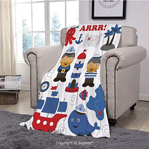 Throw Blanket/Super Soft Fuzzy Light Blanket,Ahoy Its a Boy,Sea Theme Objects Collection Fishes Ship Lighthouse Sailors Octopus,Blue Red White(51