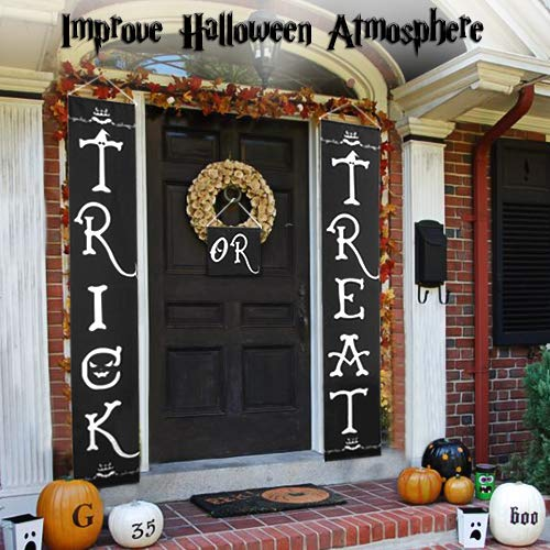 Halloween Outdoor Decoration - Trick or Treat Banner for Front Door Display, Durable Home Decor with Pumpkin, Bat, Bones, and Witch Hat Design, Easy to Use Ready to Hang for Gate, Garden, Home Party -