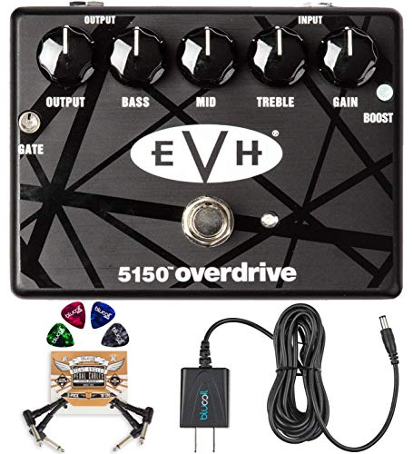MXR EVH 5150 Overdrive Pedal with 3 Band EQ Bundle with Blucoil Power Supply Slim AC/DC Adapter for 9 Volt DC 670mA, 2-Pack of Pedal Patch Cables and 4-Pack of Celluloid Guitar Picks