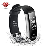 Damusy Fitness Tracker, Bluetooth Watch Activity Tracker Smart Band with Heart Rate Monitor,Waterproof Bracelet Pedometer Wristband with Calorie Counter, Call/SMS Remind for Android and iOS (Black)