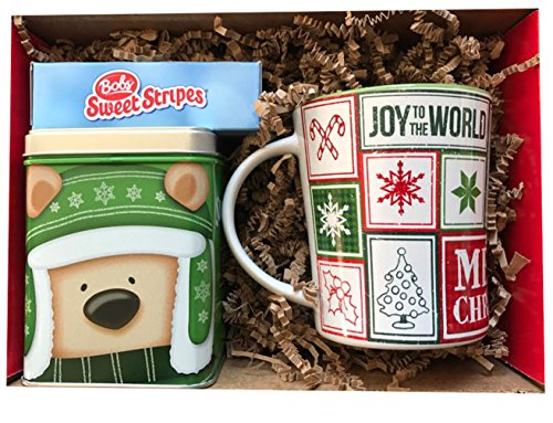 Peanuts, Snoopy Holiday Joy To The World Mug, Swiss Miss Caramel Flavor Hot Cocoa in Cute Collectible Holiday Tin Box, A Box of Soft Mint Peppermint Sticks Gift Set ()
