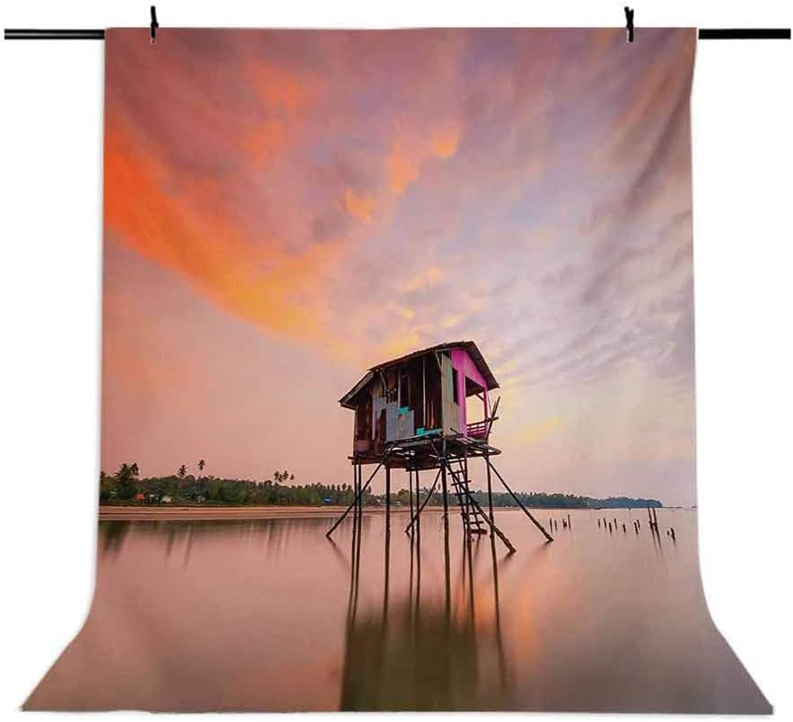 Rustic 10x12 FT Backdrop Photographers,Single Fishing House at Sunset After Flash Flood Water in Malaysian Village Background for Baby Birthday Party Wedding Vinyl Studio Props Photography Multicolor