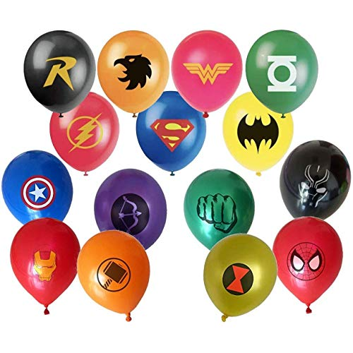 Superhero Balloon Party Favor Supplies - 30ct 12'' Avenger and Justice League Hero Theme Latex Balloons for Comic Theme Party and Decorations ()
