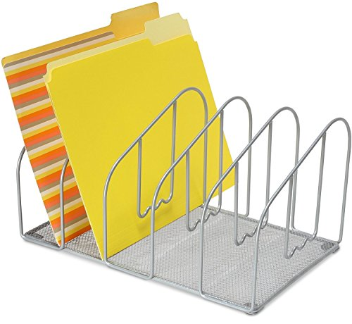 DecoBros Desk File Sorter Organizer, 5 Sections, Sliver