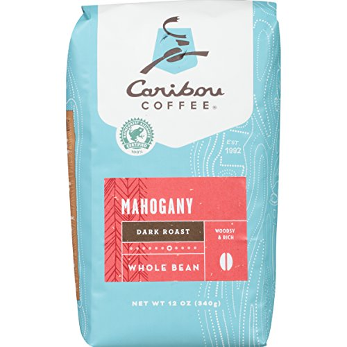 Caribou Coffee, Mahogany Dark Roast, Whole Bean, 12 oz. Bag, Dark Roast Blend of El Salvador, Sumatra, & Guatemala Coffee Beans, Earthy, Dark, & Bold, with A Raw Sugar Finish; Sustainable Sourcing