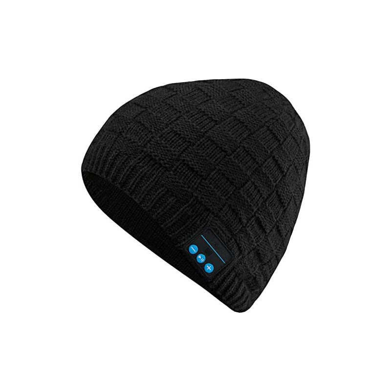 Bluetooth Beanie Cap, Outdoor Sport Knit Hat Fashion Washable with Wireless Rechargeable Removal Earpiece for Audio Listening Music for Cell Phones, iPhone, iPad, Android, Laptops, Tablets - Black