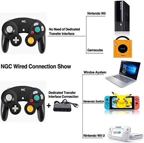 NC Gamecube Controller, adecuado para consola Wii y Nintendo Game Controller, driver con cable negro Gamepad Joystick., Juego de 1 pieza negro. 5