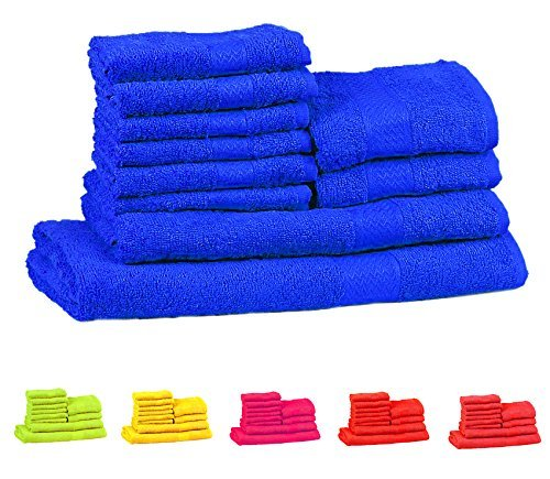 Solid Combed Towel Set (Trident Soft and Light 100% Combed Cotton 400 GSM 10-Pieces (Bath, Hand & Wash Cloth) Towel Gift Set - Neon Blue)