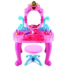 Velocity Toys My Crown Vanity Children's Pretend Play Battery Operated Toy Beauty Mirror Vanity Playset w/ Accessories, Flashing Lights, Sounds by Velocity Toys