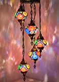 DEMMEX Turkish Moroccan Mosaic HardWired OR Swag Plug In Chandelier, 5 Globes (5 X 4.7″ Swag) Review