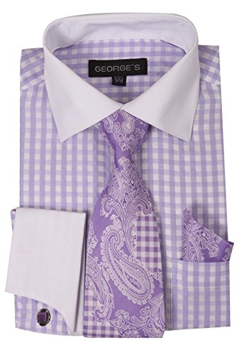 FORTINO LANDI Gingham Check Pattern High Fashion Dress Shirt With Tie Set, French Cuff & Cufflinks AH6155-Lavender-17-17 ()