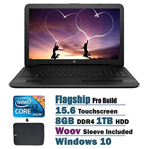 2017 HP Touchscreen Flagship High Performance 15.6 inch HD Laptop PC, Intel i3-7100U Dual-Core, 8GB DDR4, 1TB HDD, DVD, Webcam, HDMI, Windows 10, Woov Sleeve Included (Black)