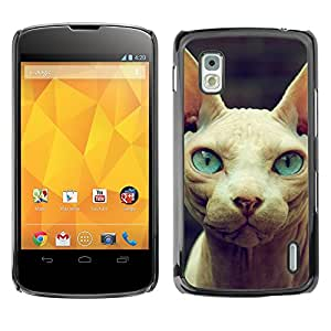 Vortex Accessory Carcasa Protectora Para LG GOOGLE NEXUS 4 - Sphynx Donskoy Peterbald Blue Eyes Cat -