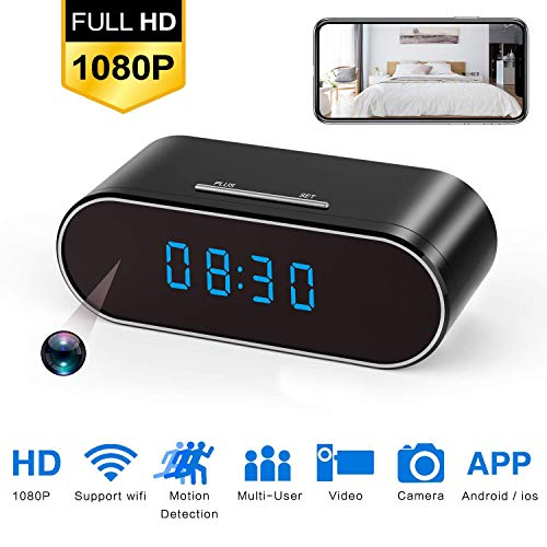 Hidden Spy Camera, 1080P WiFi Mini Camera Clock Wireless Security Cameras Video Recorder for Home Covert Monitor Remote View Nanny Cam 140°Angle Night Vision Motion Detection (2019 Upgraded Version)