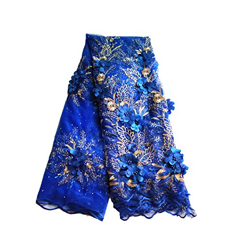 LaceQin 5 Yards 3D Swiss Yarn Lace Wedding African Lace Fabric French Royal Lace Fabric Silver White Yellow 4 Colors (Blue)