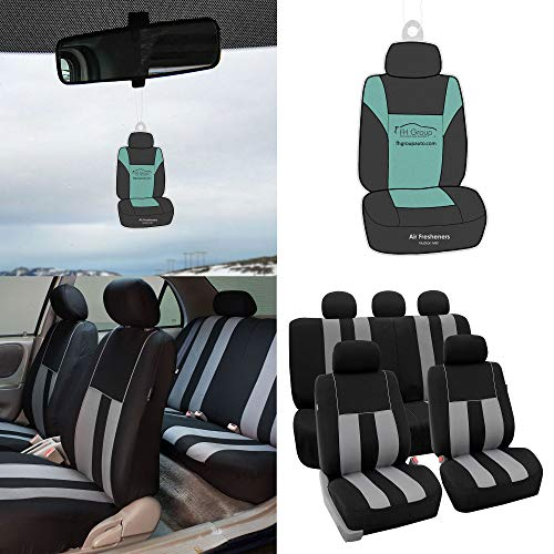 FH Group Light & Breezy Gray/Black Cloth Seat Cover Set Airbag & Split Ready- Fit Most Car, Truck, SUV, or Van