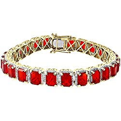 "10K Yellow Gold Round Pave Set Diamond & Lab Created Red Ruby Men's 8.5"" Bracelet 2 Cttw"