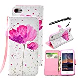 iPod Touch 6 Case, UrSpeedtekLive Pink Flower Pattern Premium PU Leather Flip Wallet Case Cover W/ Wristlet Strap for iPod Touch 5th 6th Generation (Built-in Credit Card/ID Card Slot)