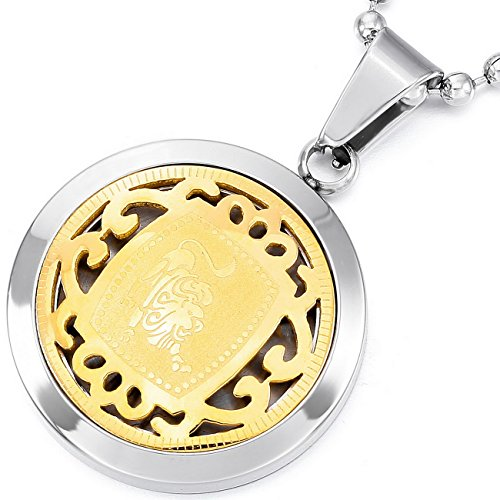 MeMeDIY Silver Gold Two Tone Stainless Steel Pendant Necklace Leo Horoscope Zodiac ,come with Chain - Customized (Men Two Tone Necklaces)