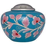 Blue and Pink Funeral Urn by Liliane - Cremation Urn for Human Ashes - Hand Made in Brass - Suitable for Cemetery Burial or Niche - Large Size fits remains of Adults up to 200 lbs - Leslie Model