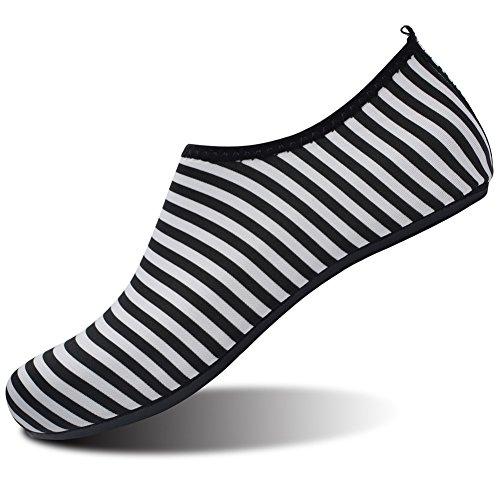 Barerun Barfuß Quick-Dry Wasser Sportschuhe Aqua Socken für Schwimmen Beach Pool Surf Yoga für Frauen Männer Breiter Streifen