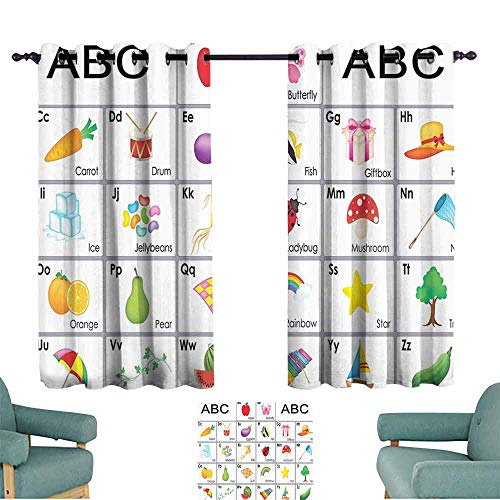 Kids Printed curtain Funny Educational Alphabet Letters Kite Xylophone Ladybug Zucchini Drum Lovers Art Prints Nursery Decor Design privacy protection 55