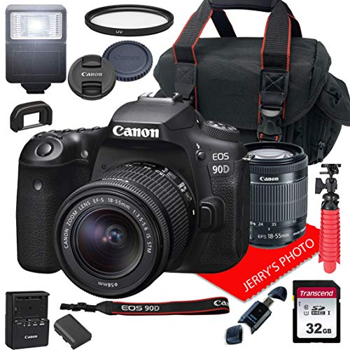 Canon EOS 90D DSLR Camera w/Canon EF-S 18-55mm F/3.5-5.6 is STM Zoom Lens + Case + 32GB SD Card (15pc Bundle)