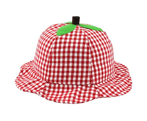 Unisex Baby Sun Protection Plaid Apple Bucket Hat Sun Hat with Strap ()