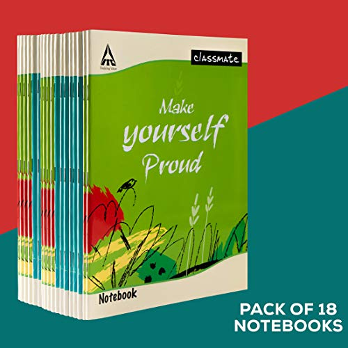 Classmate Notebook - Single Line, 120 Pages, 240mm*180mm (Pack Of 18)