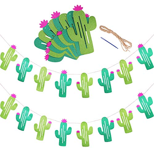 Maxdot 2 Sets Cactus Banners Garland Cactus Party Supplies Decorations for Pennant Tropical Birthday Festival Luau Hawaii Children's Party