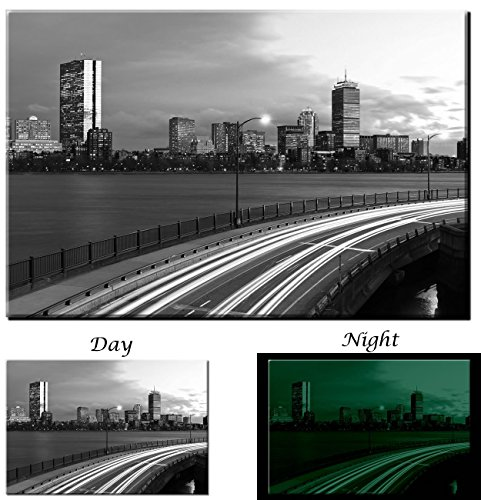 Picture Sensations Boston Massachusetts Downtown Highway Black and White City Skyline - Glow in the Dark Canvas Art Print - - Downtown In Boston