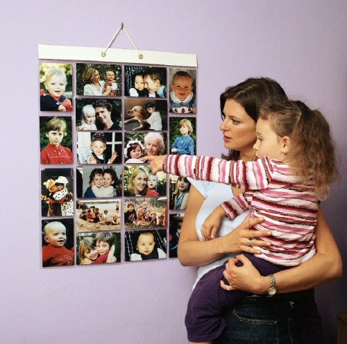 Thinking Gifts Picture Pockets Photo Hanging Display, 40 photos in 20 pockets, Large, Clear, 1 unit (PPL )