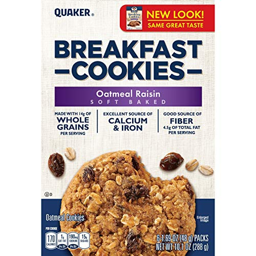Quaker Breakfast Cookies, Oatmeal Raisin, 6-1.69oz Cookies Per Box (Pack of 6)