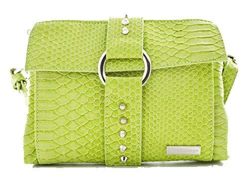 Safari Crossbody Wallet Style Handbag in Lime Green Snake Skin Letherette - Womens