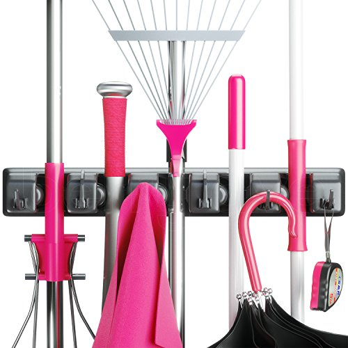 #LightningDeal 99% claimed: Berry Ave Broom Holder and Garden Tool Organizer for Rake or Mop Handles Up To 1.25-Inches