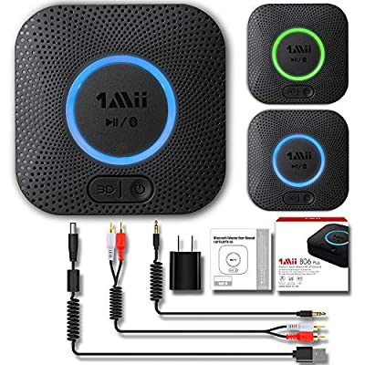 1Mii B06 Plus Bluetooth Receiver, HiFi Wireless Audio Adapter, Bluetooth Receiver with 3D Surround aptX Low Latency for Home Music Streaming Stereo System