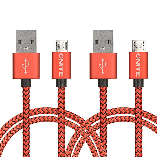Onite 2 PCS Micro USB Data Charger Cable for LG Tribute HD, Stylo 2 3, K7 K8, Rebel, Samsung Galaxy J7 J5 J3 S7 S6 S5 S4, Note 3 4 5, Moto E Z G, Sony Xperia XA Ultra, BLU R1 HD Advance 5.0 (Red) (Smartphone Mobile Windows 5.0)