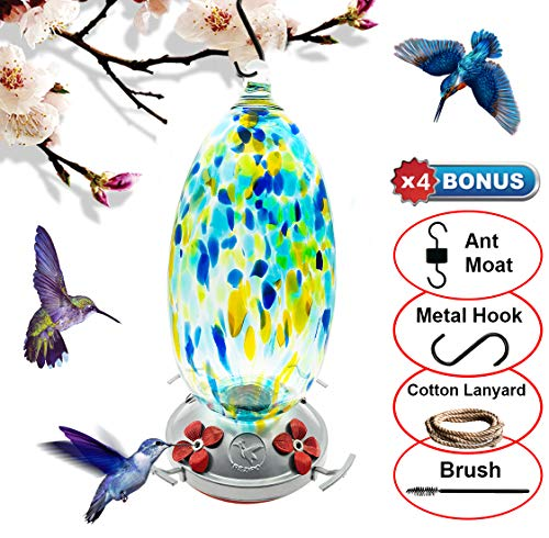 REZIPO Hummingbird Feeder with Perch - Hand Blown Glass - Blue - 37 Fluid Ounces Hummingbird Nectar Capacity Include Hanging Wires and Ant Moat (Blue) ()