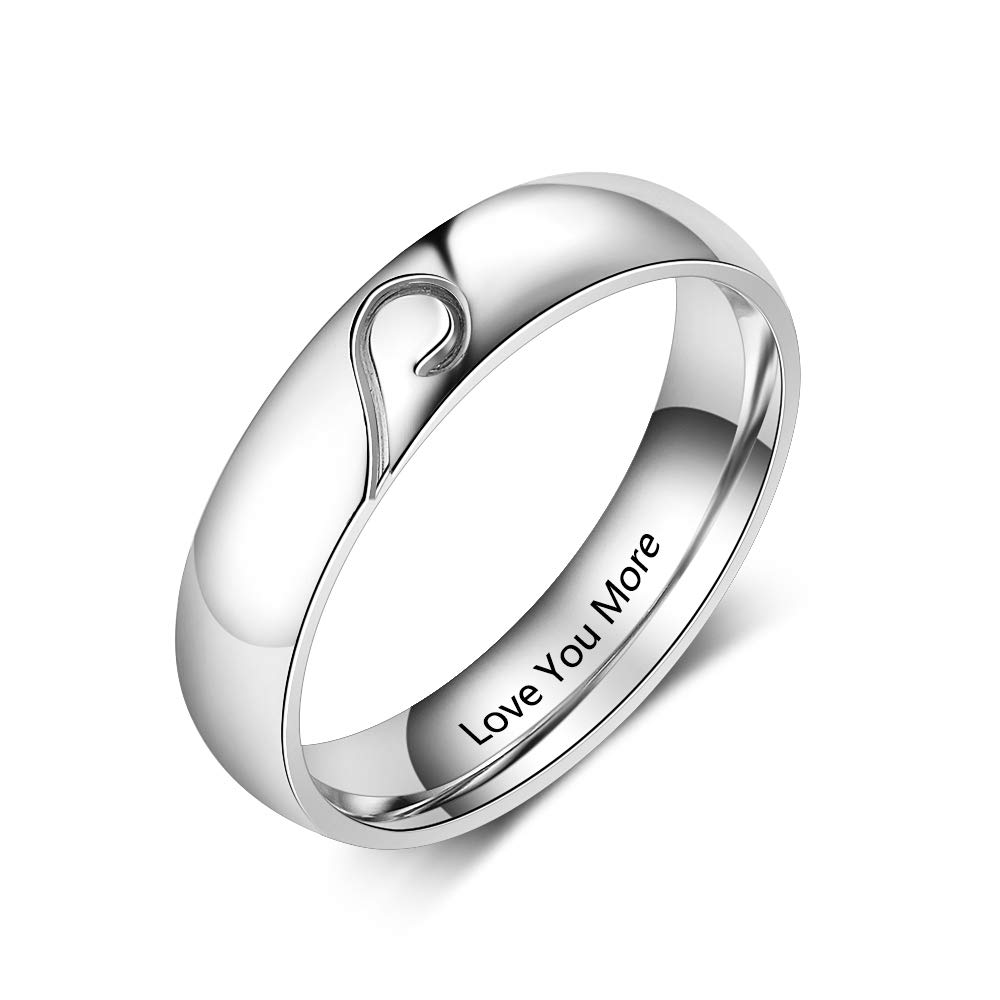 3a8a91500fba2 Personalized Promise Rings Set Engagement Bands Rings for Him and Her  Custom Couples Rings Set for Her Mens Womens Name Rings Set