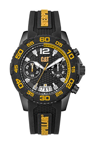 CAT Men's PW Driver Chronograph Watch Black & Yellow Dial Black & Yellow Strap -