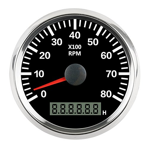 AUTOOL 85mm Tachometer Gauge Tacho Black Faceplate Stainless Steel Bezel Boat Car Tachometer 0-8000 RPM for Gas Engine