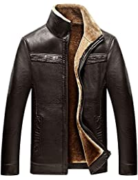 Mens Winter Full Zipper Thick Sherpa Lined Faux Leather Jacket