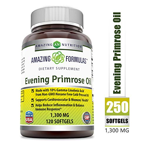 (Amazing Formulas Evening Primrose Oil 1300 Mg 120 Softgels - High Potency- Made with 10% Gamma Linoleic from Non-GMO Hexane Free Cold Pressed Oil)