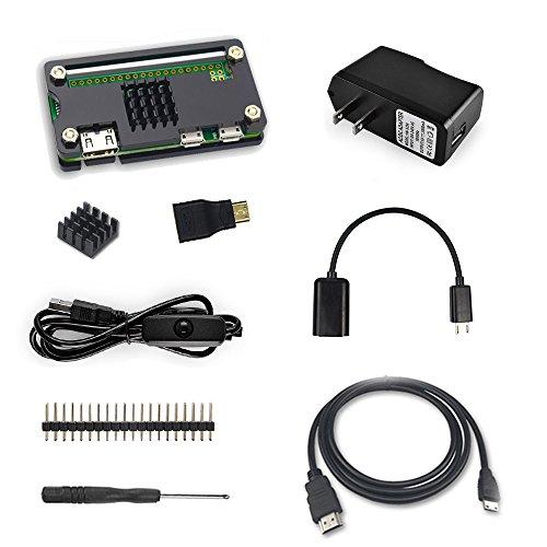 Etoput Starter Kit for Raspberry Pi Zero W Basic Accessories Kit,Black case (NOT INCLUDE RASPBERRY PI ZERO ) (Basic Accessory Kit)