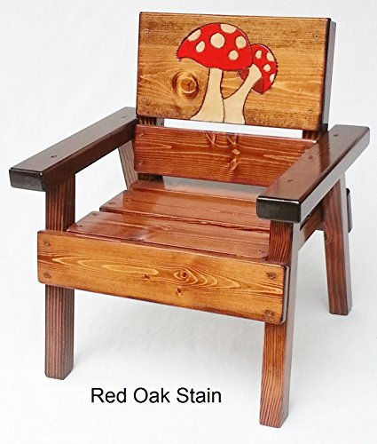 Kids Painted Wood Chair, Indoor / Outdoor Childrens' Furniture, Engraved Mushrooms