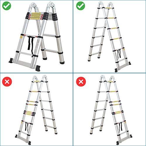 Sotech 3,8M Escalera Telescópica, Escaleras Plegables Aluminio, 12 Escalones AntideslizantesCarga 150 KG, (1,9M + 1,9M): Amazon.es: Bricolaje y herramientas